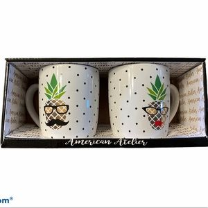 NWT Pineapple his and hers coffee mugs